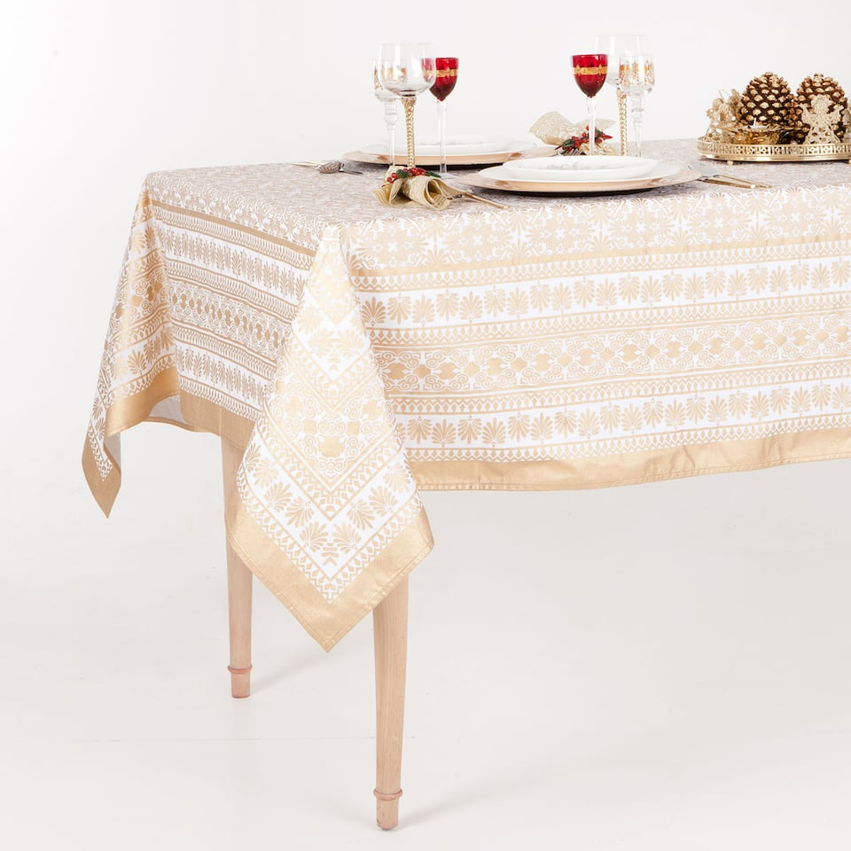 Gold Print Christmas Tablecloth and Napkin