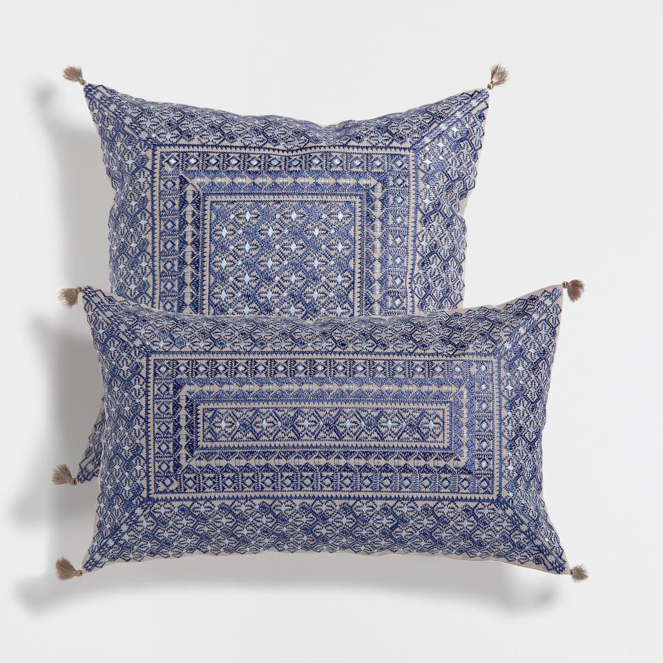 Pompom embroidered cushion decorative pillows decor home collection sale zara home - Enhance your home decor with fancy cushions ...