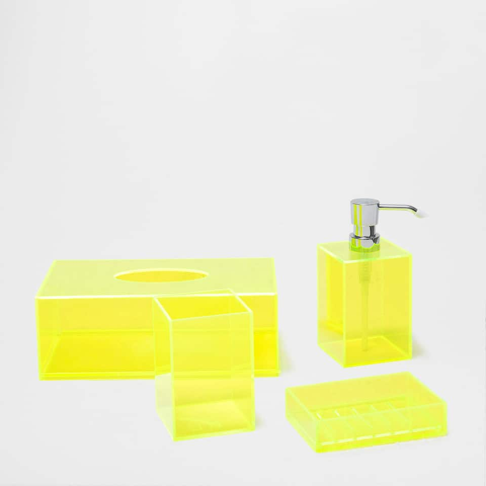 Bright yellow bathroom accessories bright yellow for Yellow bathroom decor