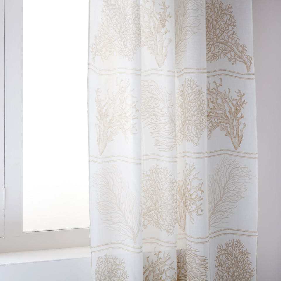 CORAL DIGITAL-PRINT LINEN CURTAIN