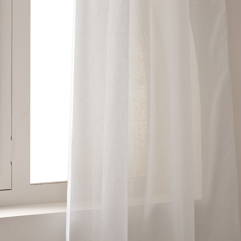 SHIMMER-THREAD LINEN CURTAIN