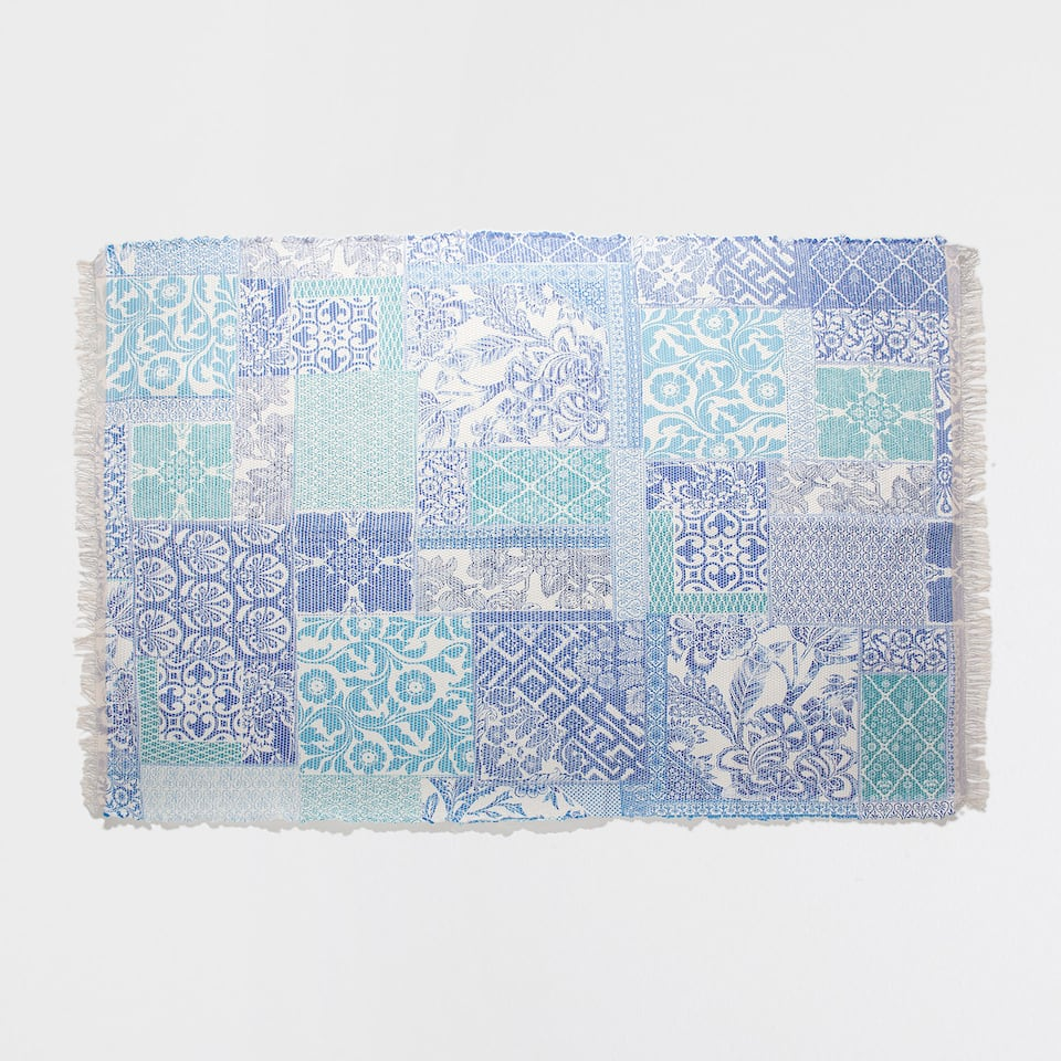BLUE DIGITAL-PRINT RUG