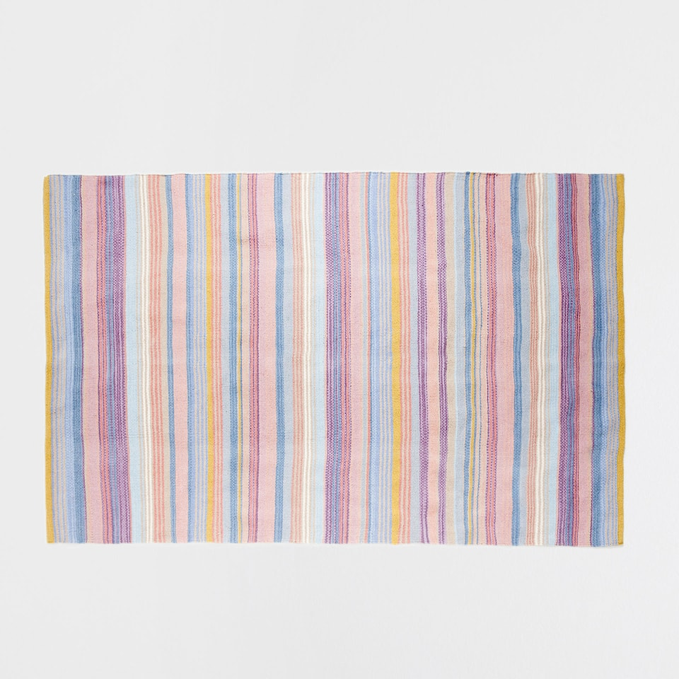 MULTICOLOURED STRIPED WOOL RUG