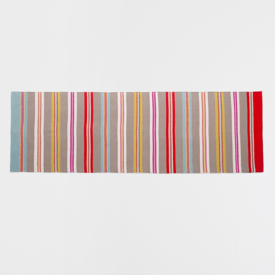 STRIPED MULTICOLOURED COTTON RUG