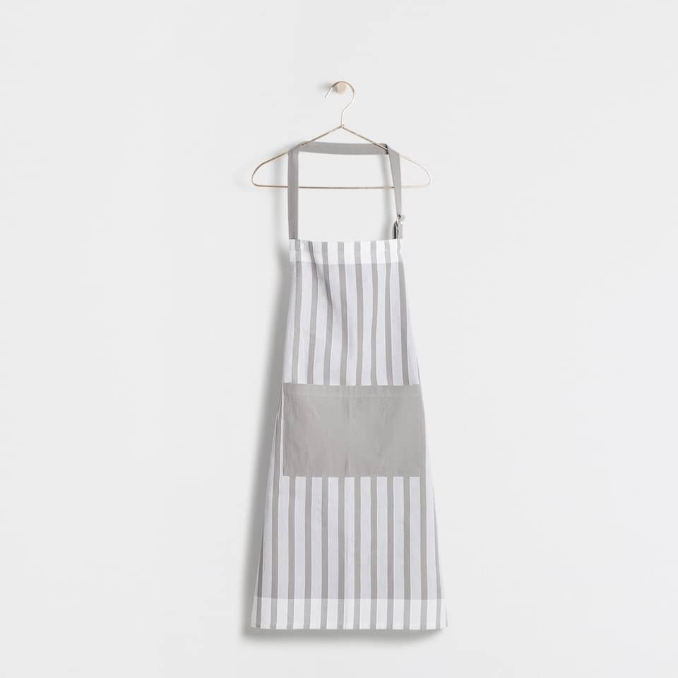 CHECKED AND LINED COTTON APRON