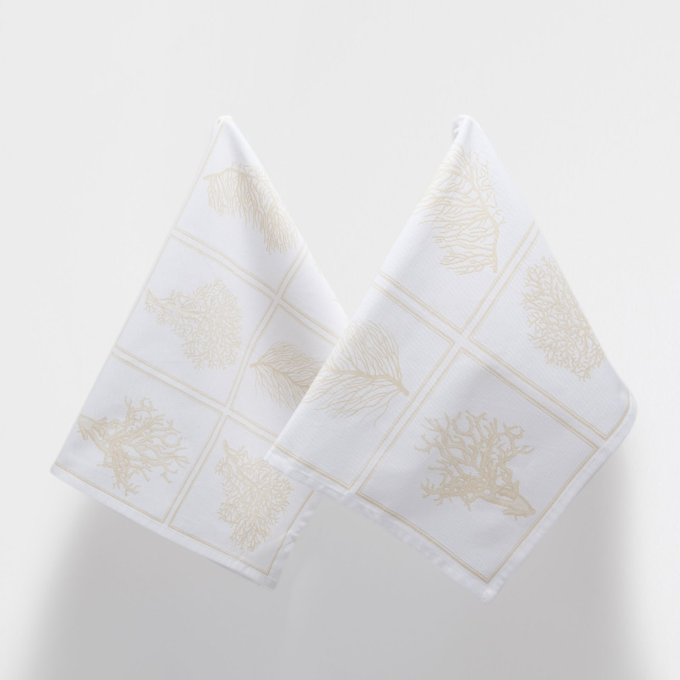 CORAL-DESIGN TEA TOWEL (SET OF 2)