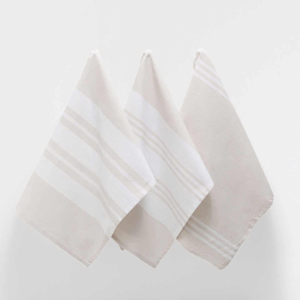 STRIPED COTTON TEA TOWEL (SET OF 3)