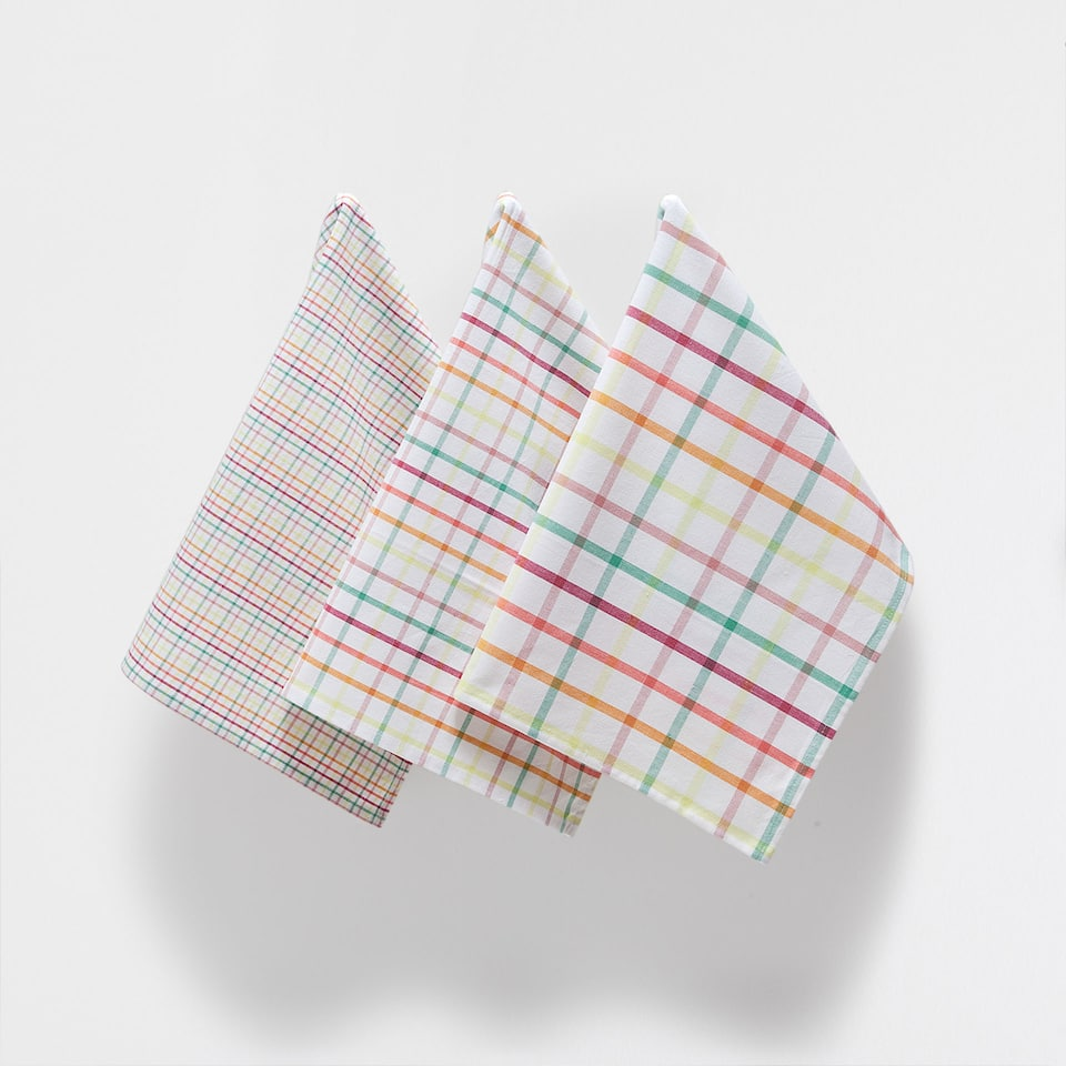 MULTICOLOURED CHECKED TEA TOWEL (SET OF 3)