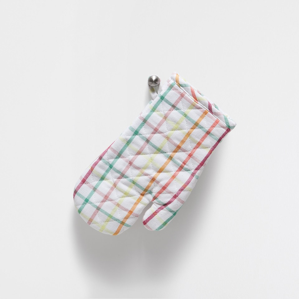 MULTICOLOURED CHECKED COTTON OVEN GLOVE