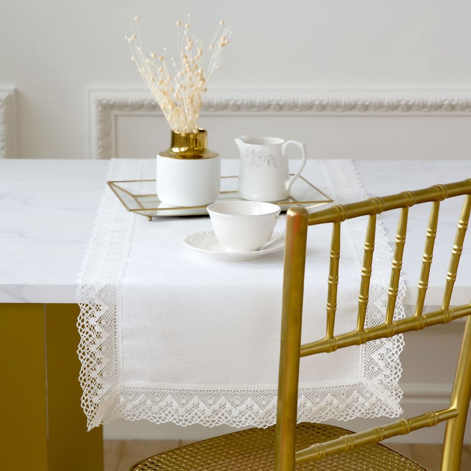 Linen and Lace-Trim Table Runner
