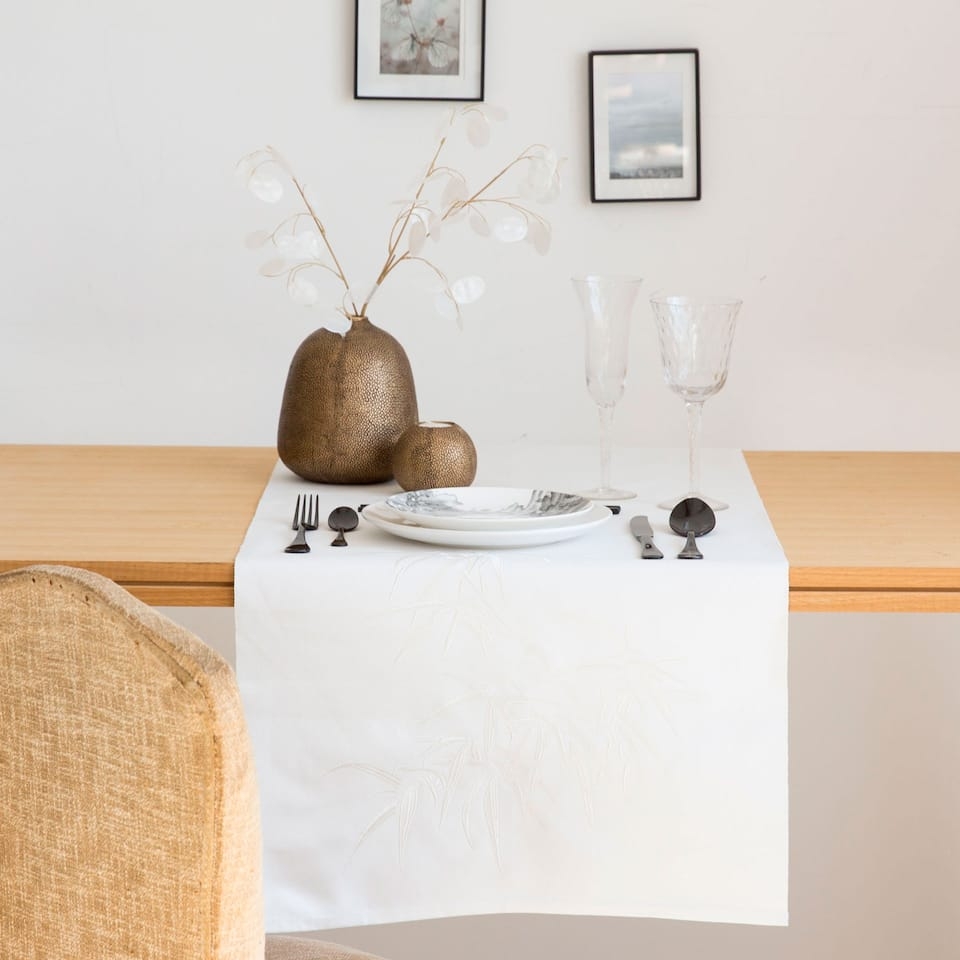 Bamboo Embroidered Table Runner