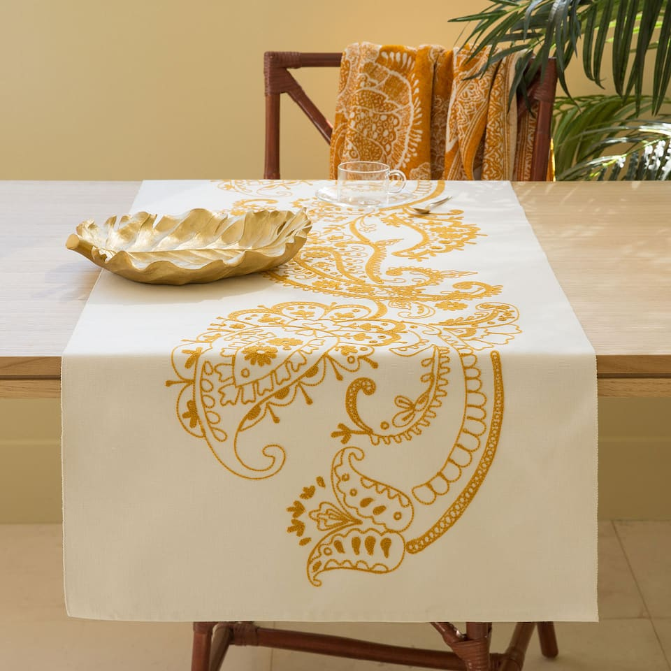 Ecru Embroidered Table Runner
