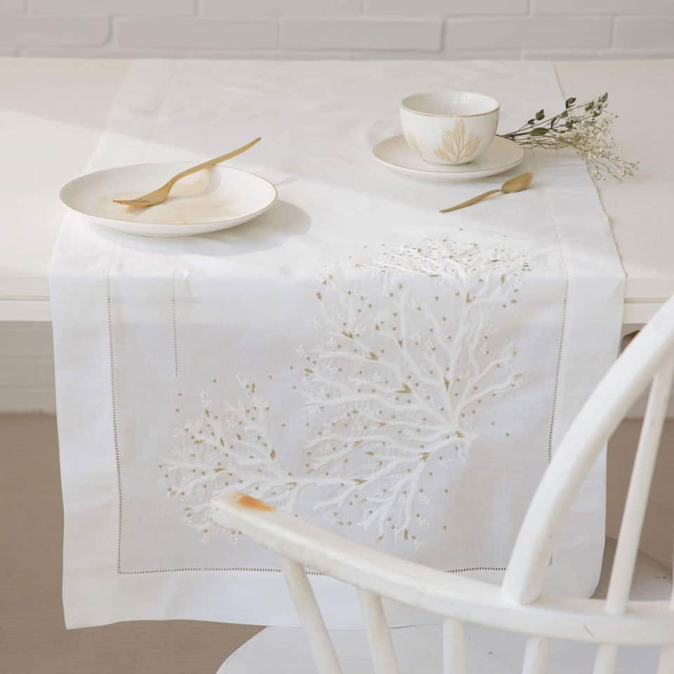 Embroidered Specks Table Runner