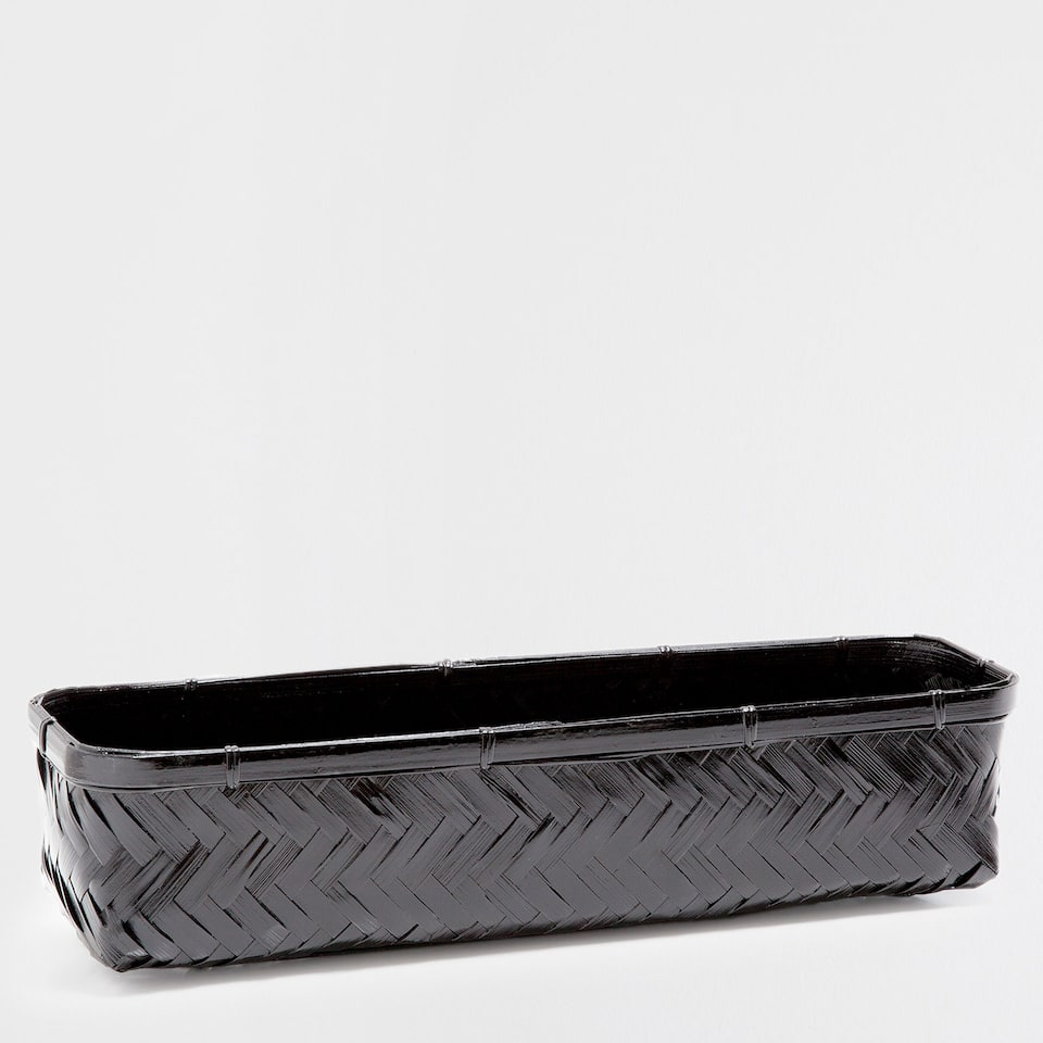BLACK SQUARE BAMBOO BASKET