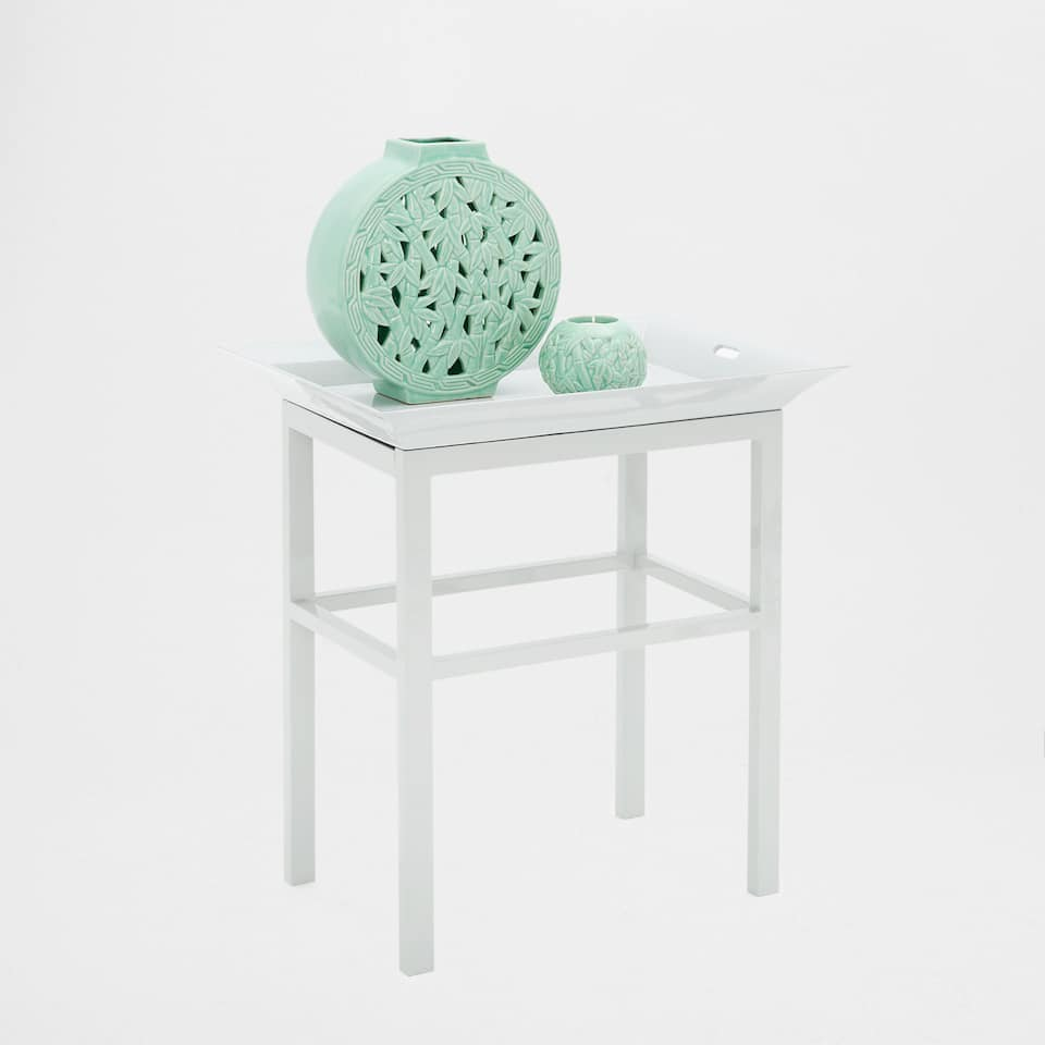 WHITE TABLE WITH A TRAY