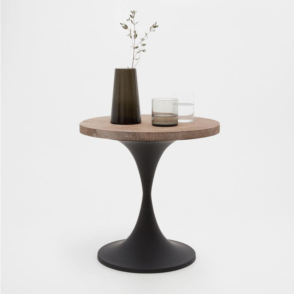 METAL AND WOOD PEDESTAL TABLE