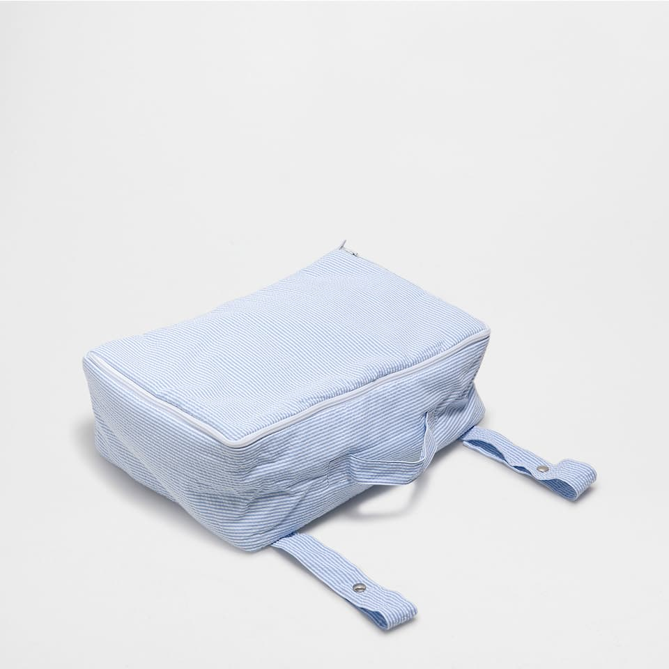 Blue seersucker percale maternity bag