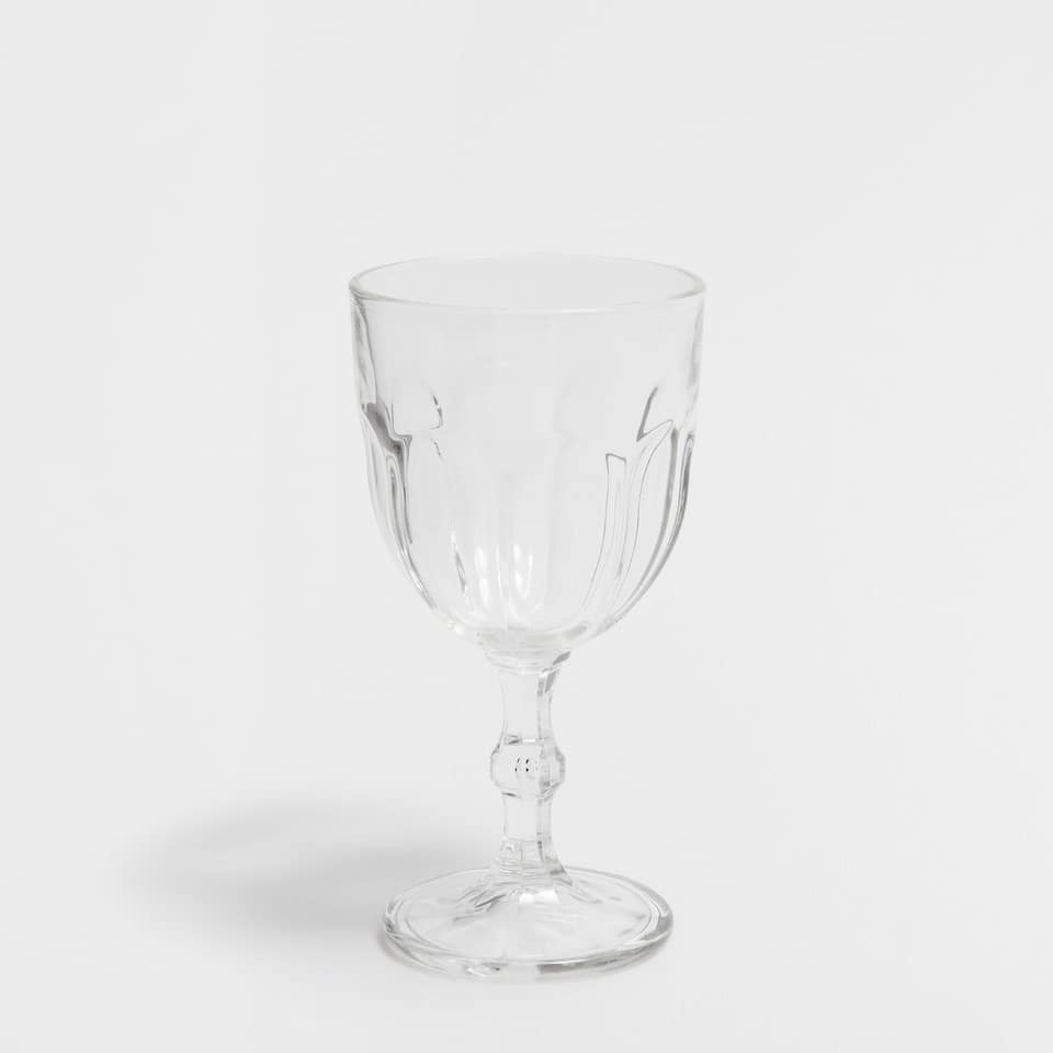Glass water goblet