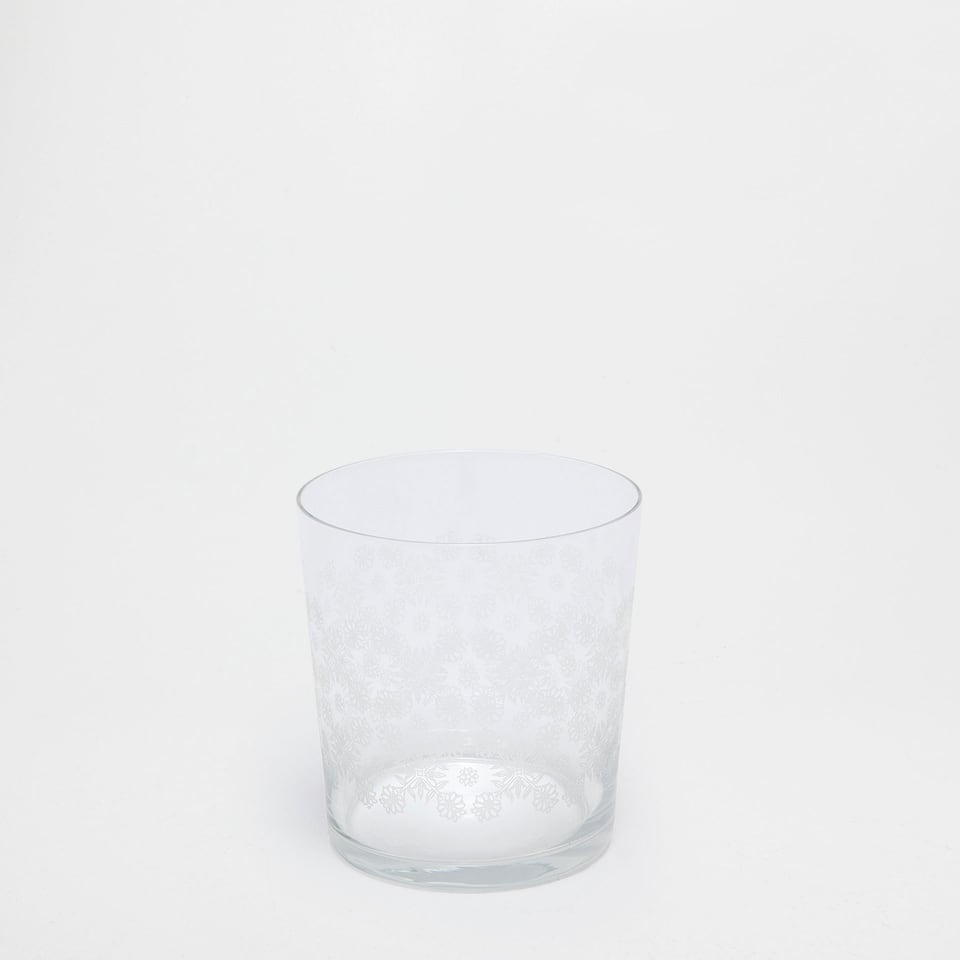 GLASS TUMBLER WITH SMALL FLOWERS