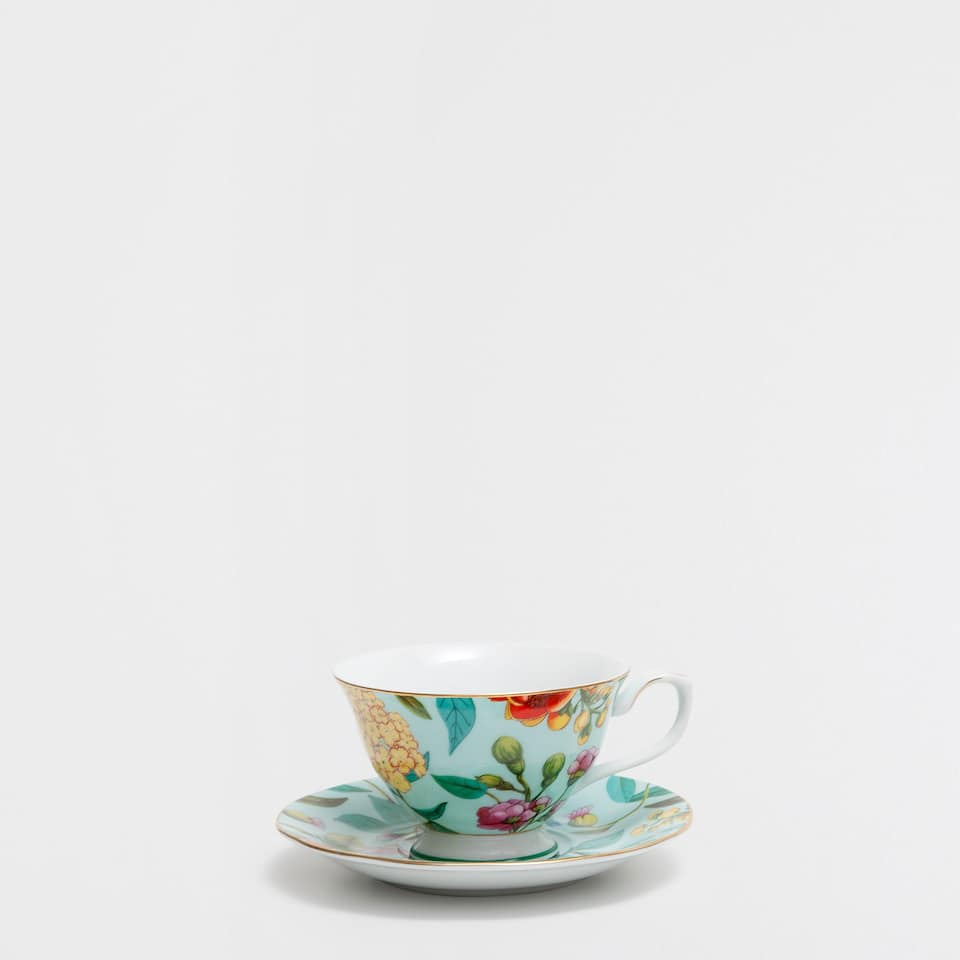 Silver-edge porcelain teacup and saucer