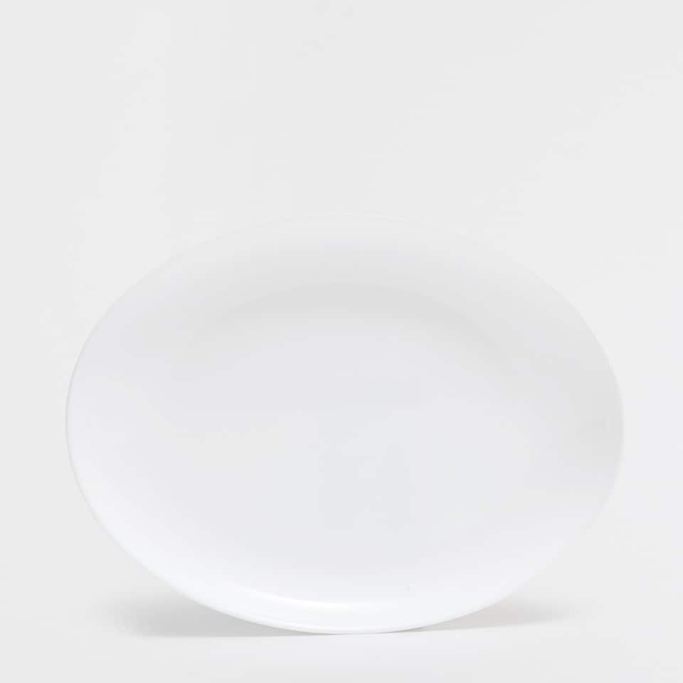 White glass serving dish