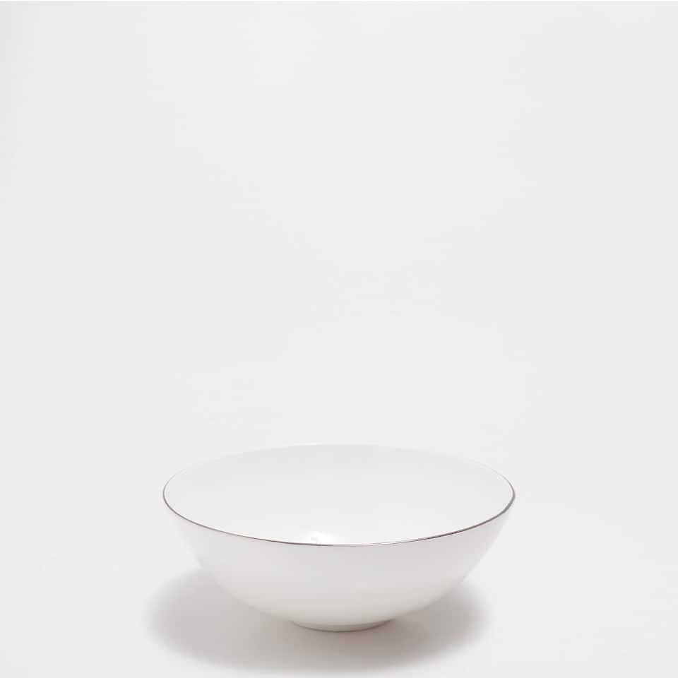 Bone china bowl with silver rim