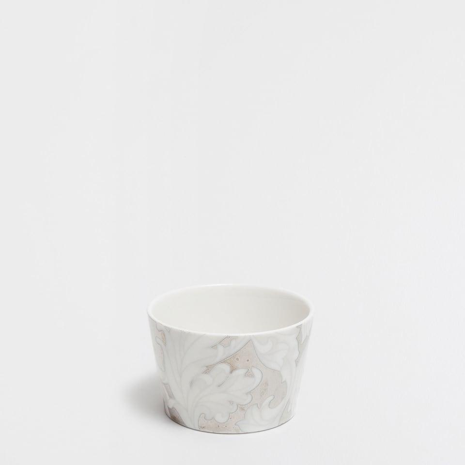Bol porcelaine feuilles argentées