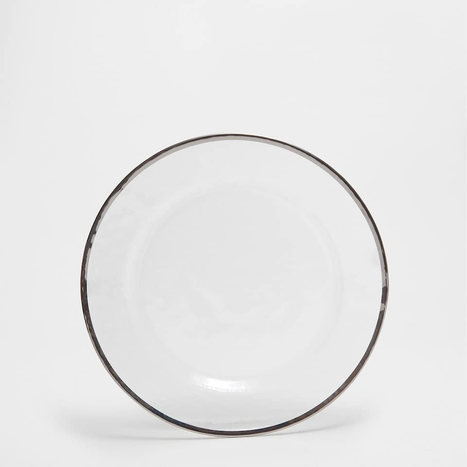 Glass plate charger with a silver rim
