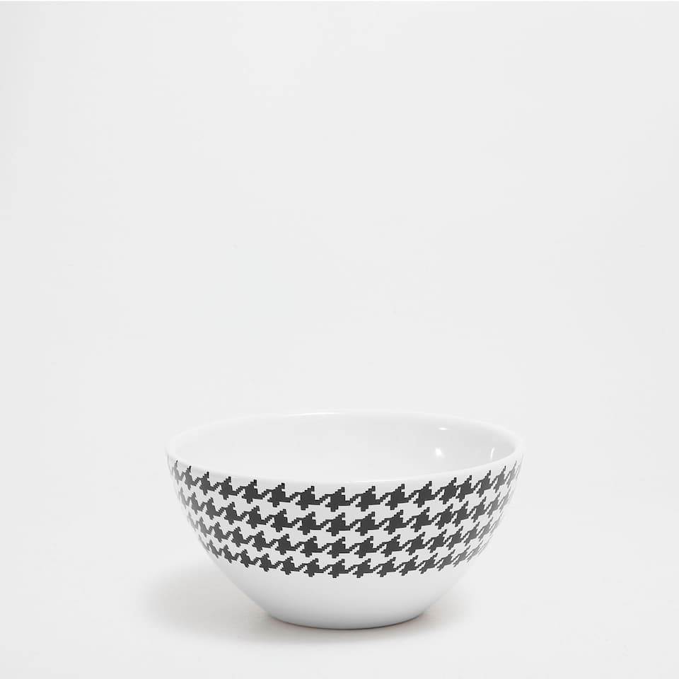 Houndstooth earthenware bowl