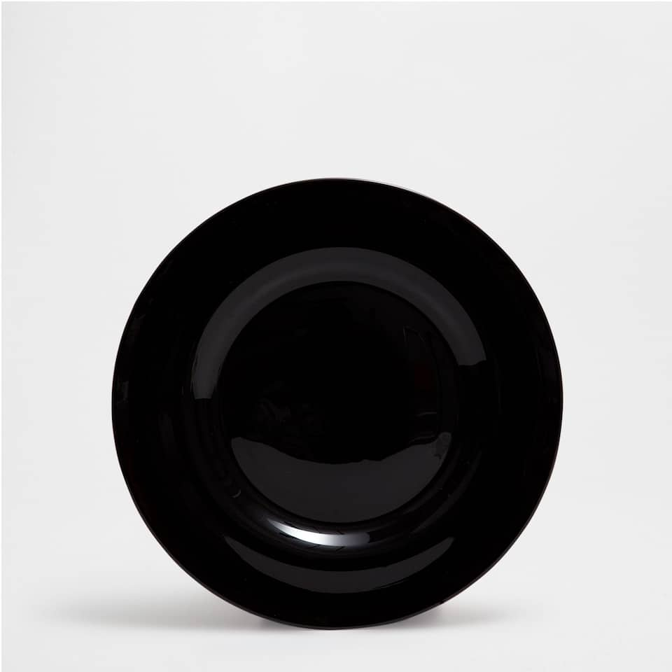 Black glass plate charger