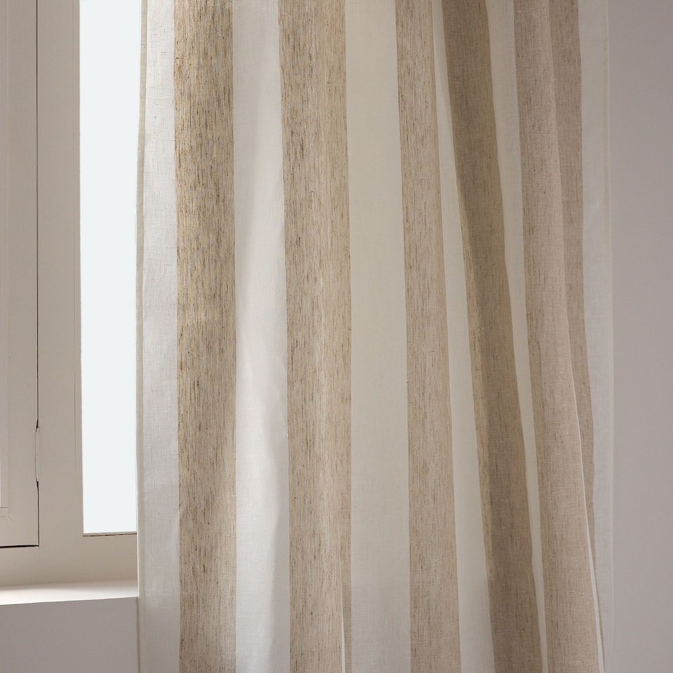 Grey and white striped linen curtain