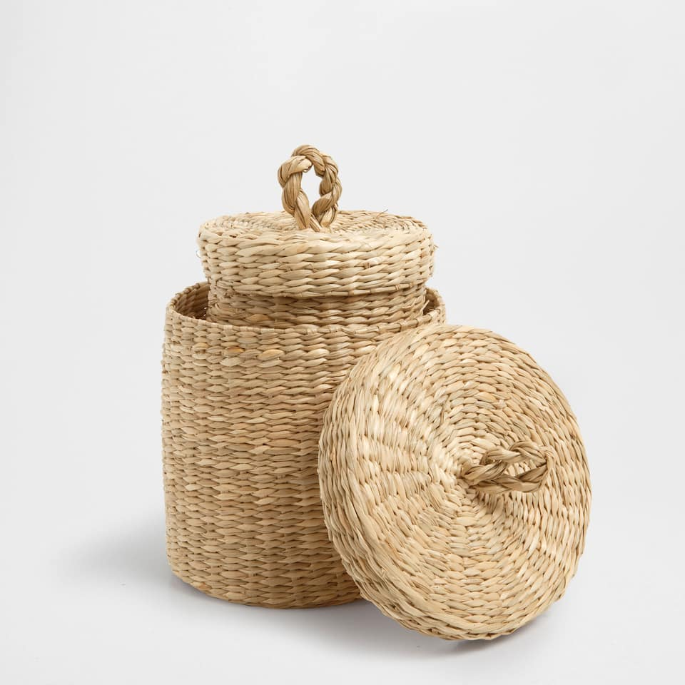 Basic Round Basket with Lid (Set Of 2)