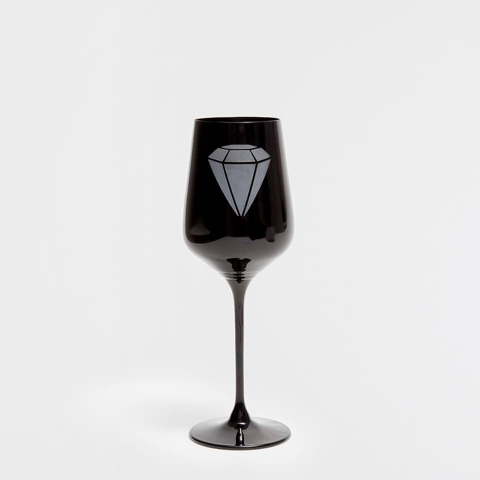 DIAMOND BLACK WINE GLASS