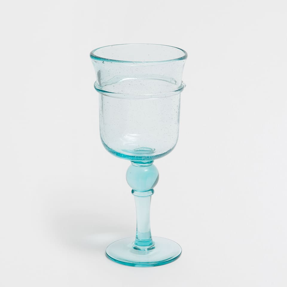 TURQUOISE GLASS WINE GLASS