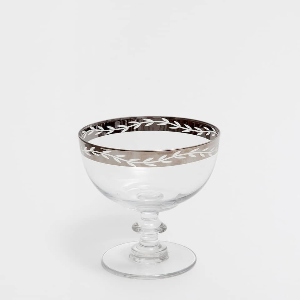 PATTERNED ICE-CREAM CUP WITH A SILVER RIM