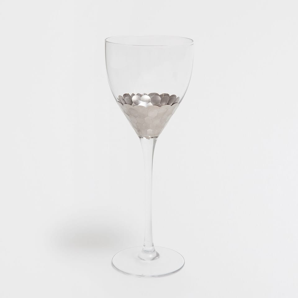 SILVER FEATHER WINE GLASS