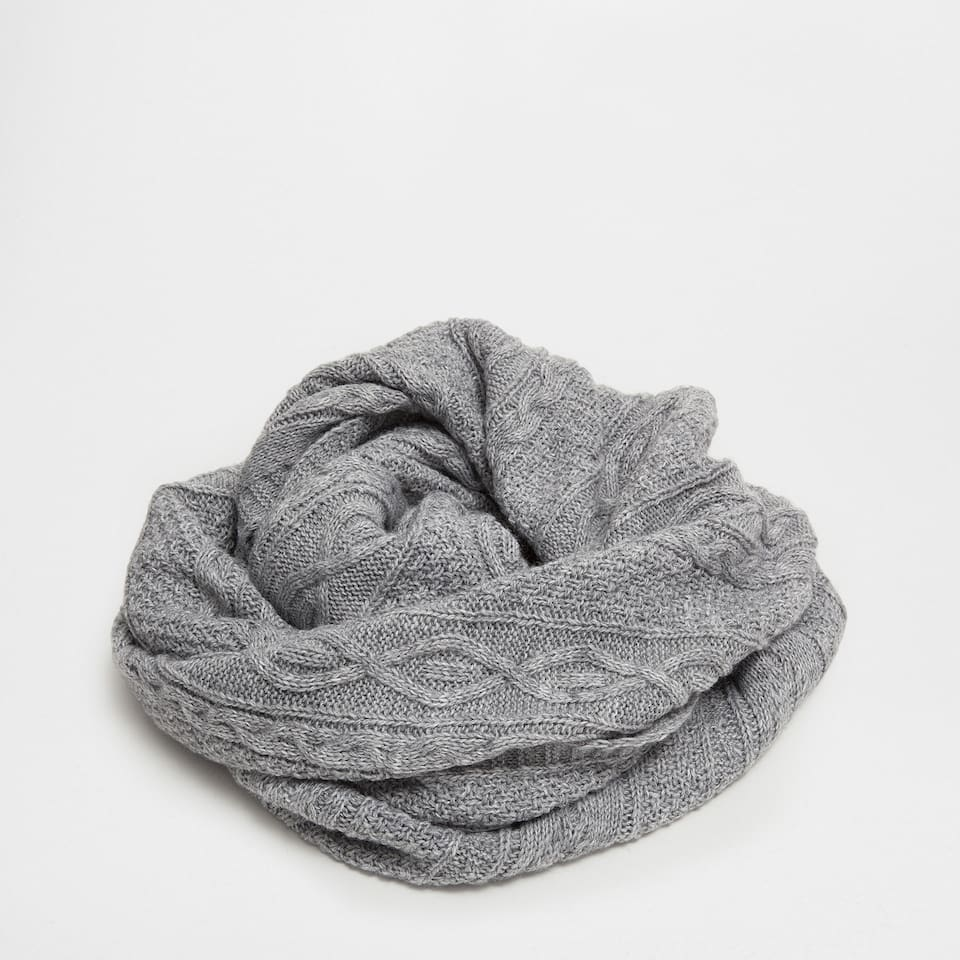 Grey cable-knit blanket