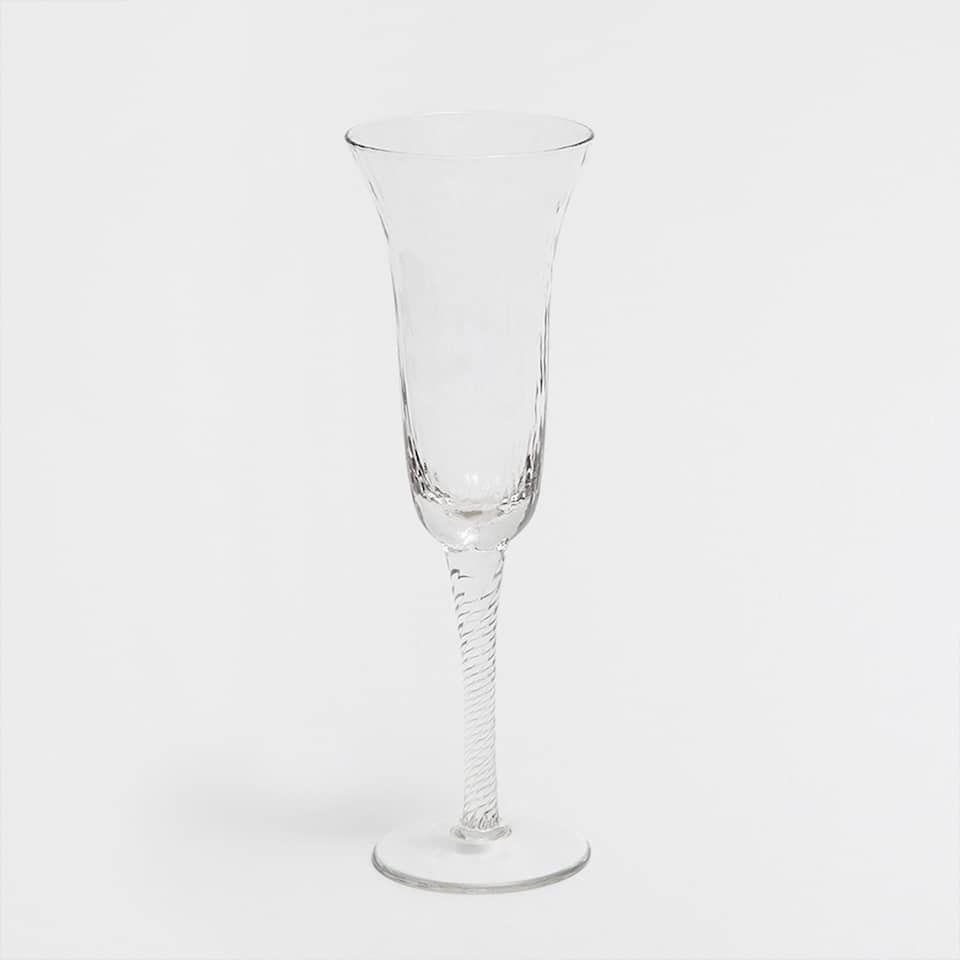 TRANSPARENT GLASS CHAMPAGNE FLUTE