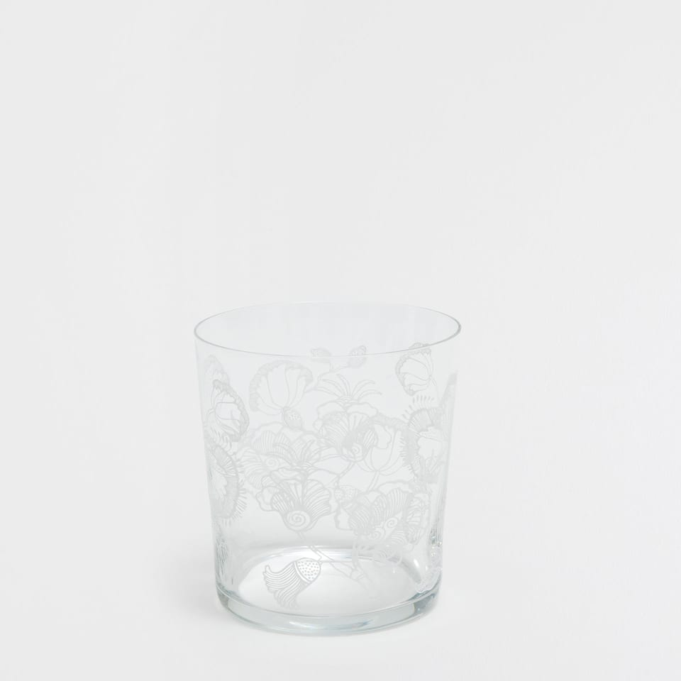 FLORAL GLASS TUMBLER