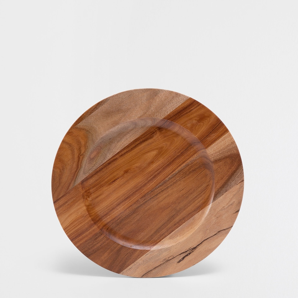 BROWN WOODEN PLATE CHARGER