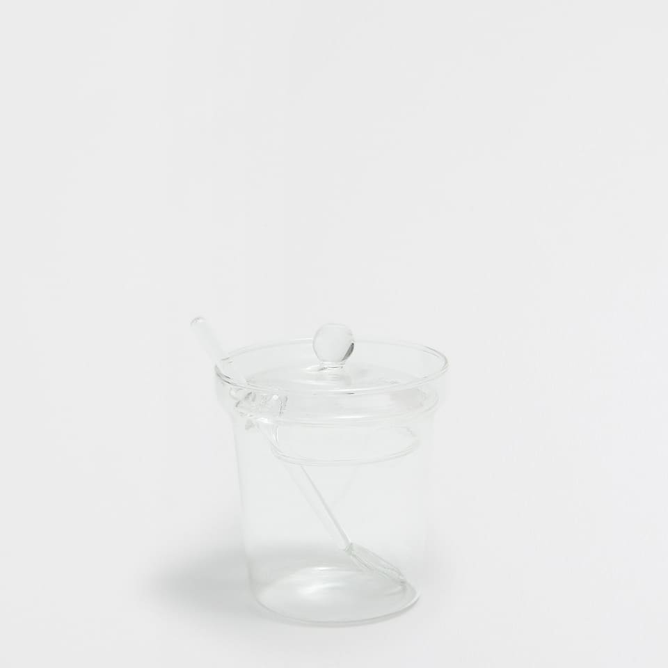 TRANSPARENT GLASS SUGAR BOWL