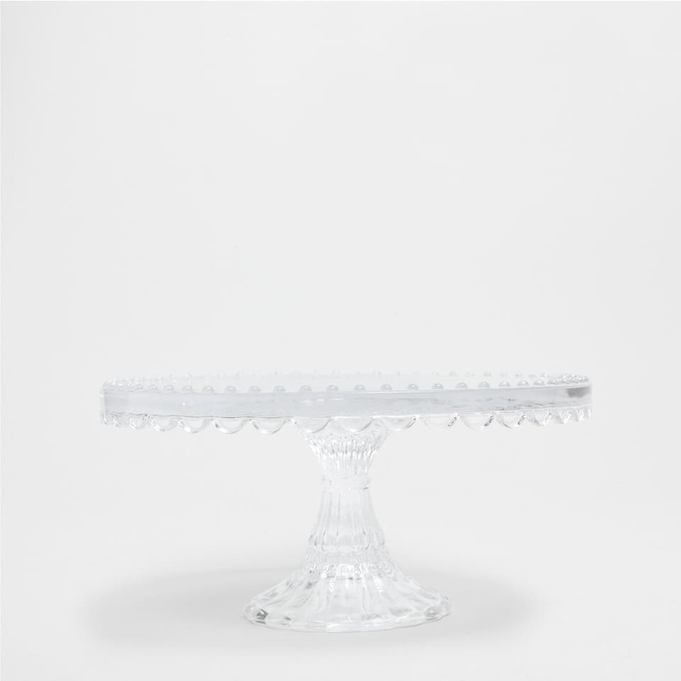 TRANSPARENT GLASS CAKE DISH