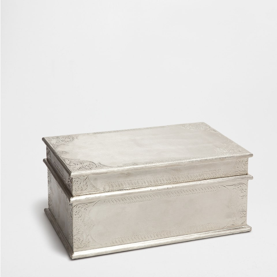 WOODEN AND SILVER CHEST