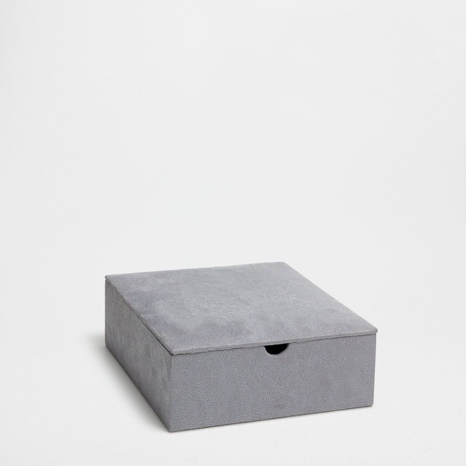 GREY SUEDE JEWELLERY BOX