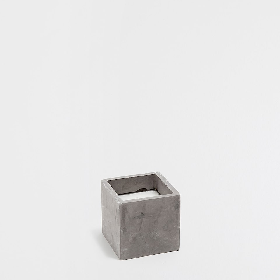 Square cement candle holder