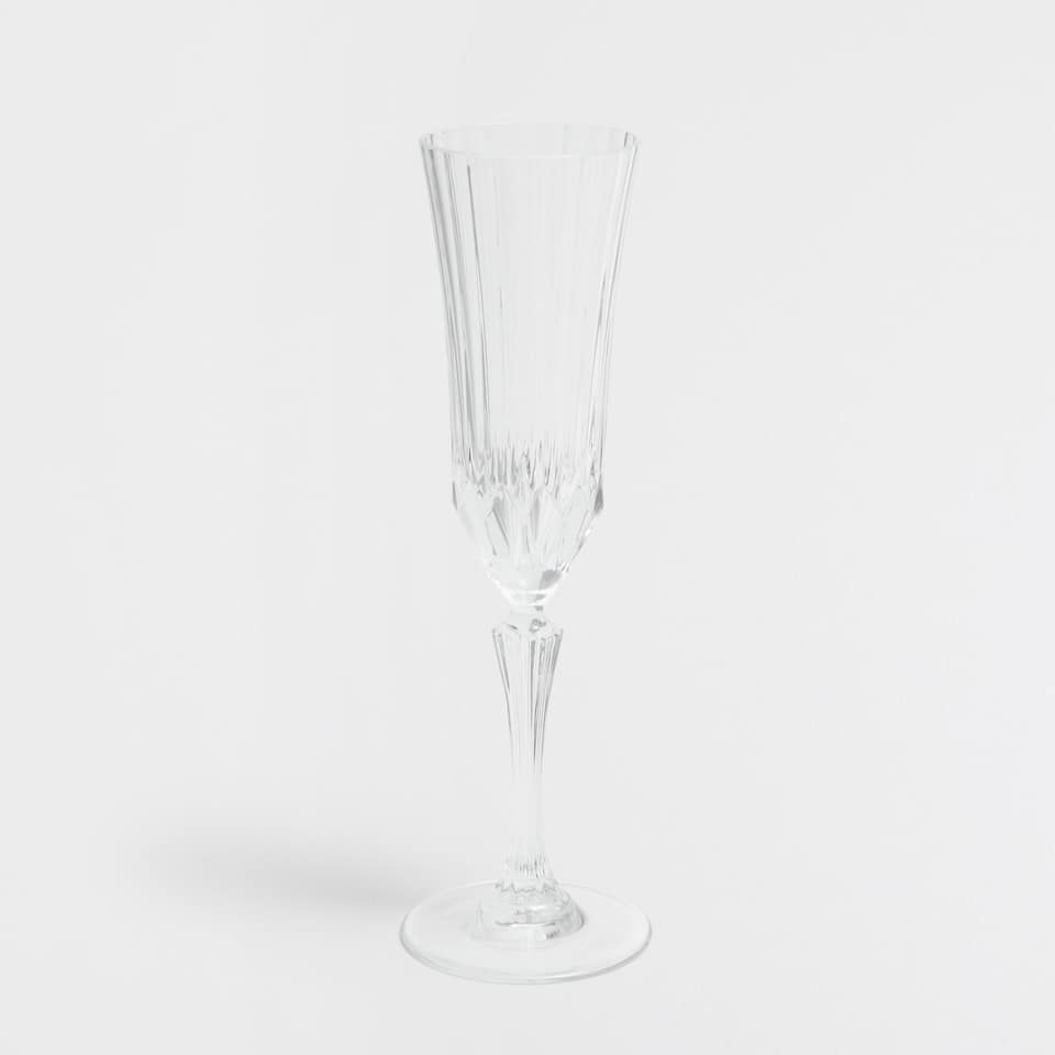 Striped Cut Glass Champagne Flute