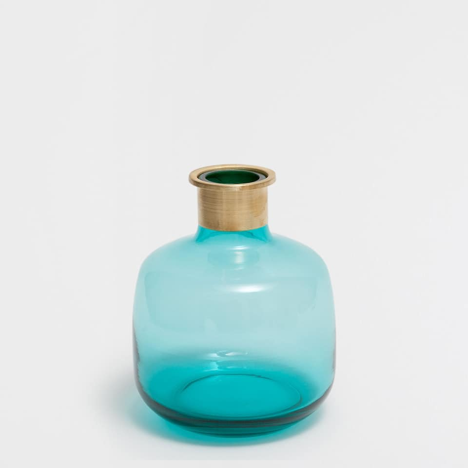 BLUE GLASS AND METAL VASE