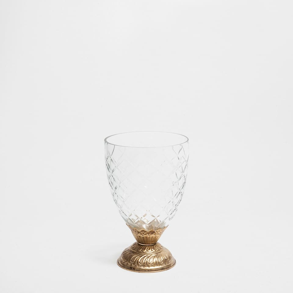 GOBLET-SHAPED VASE WITH METAL BASE