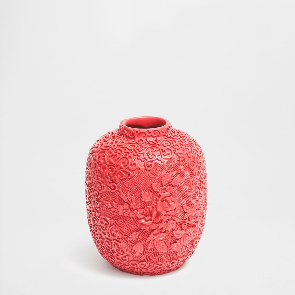 RED RAISED-DESIGN CERAMIC VASE