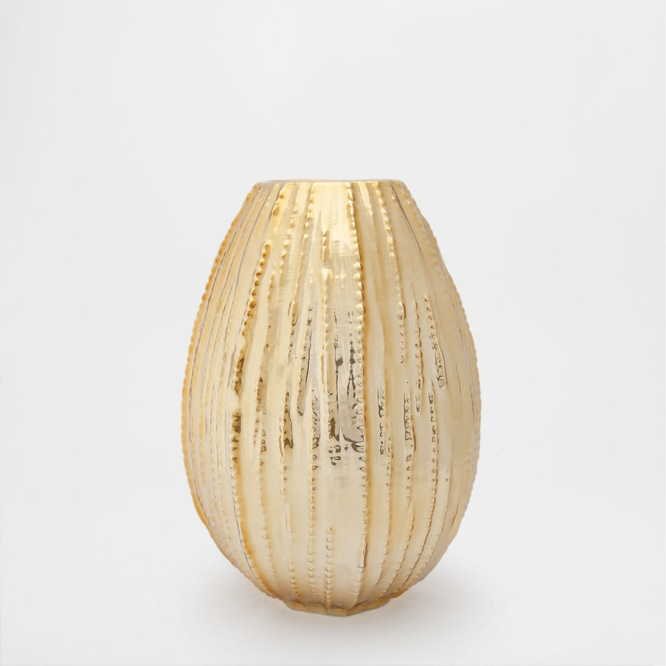 GOLDEN RAISED-DESIGN CERAMIC VASE